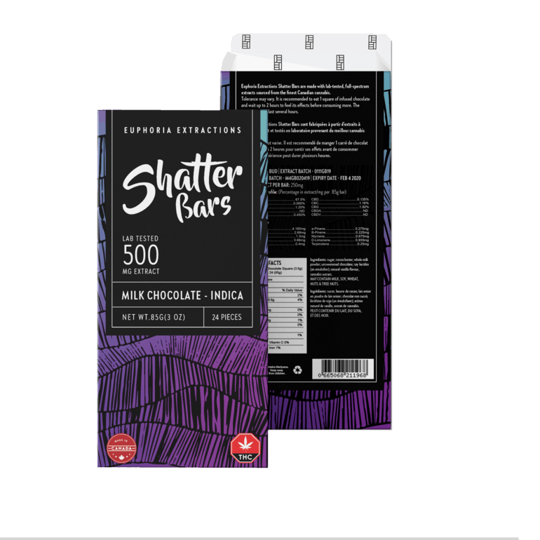 *Back In Stock * Milk Chocolate Indica 500mg Shatter Bar