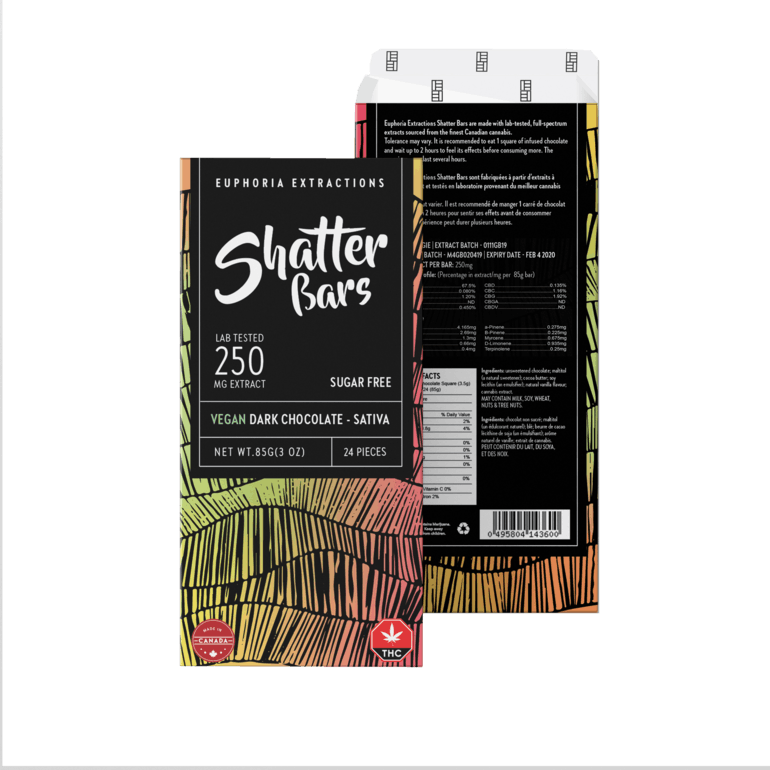 Vegan Dark Chocolate Sativa 250mg Shatter bar
