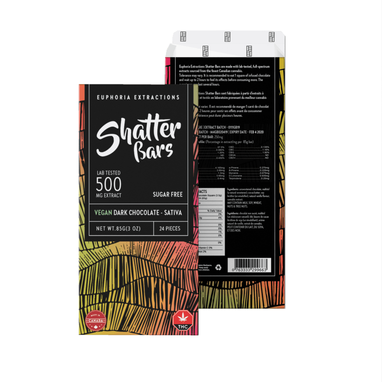 Vegan Dark Chocolate Sativa 500mg Shatter Bar